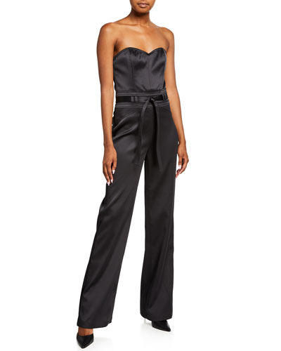Jenna Strapless Sateen Jumpsuit