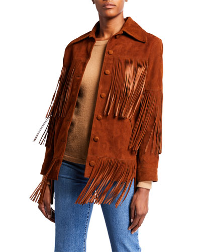 Rimon Lamb Suede Fringe Jacket  Brown