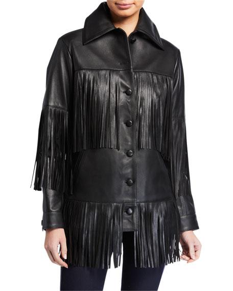 Rimon Lamb Leather Fringe Jacket, Black