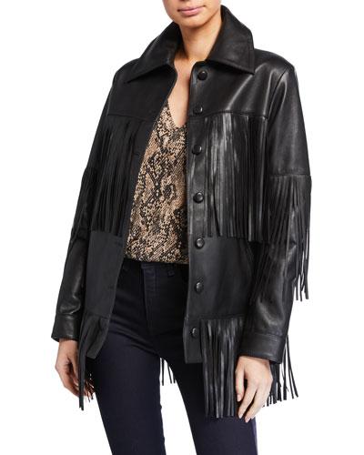 Rimon Lamb Leather Fringe Jacket  Black