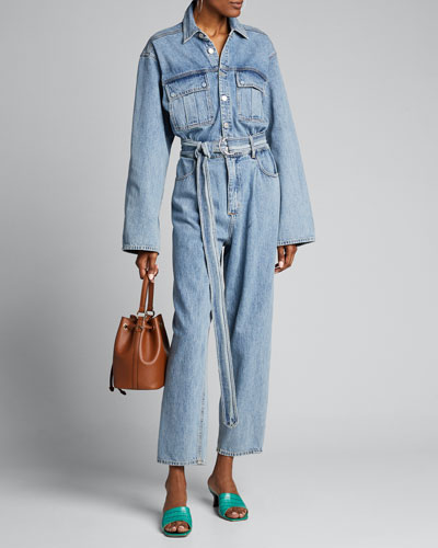 Tatum Long-Sleeve Belted Denim Jumpsuit