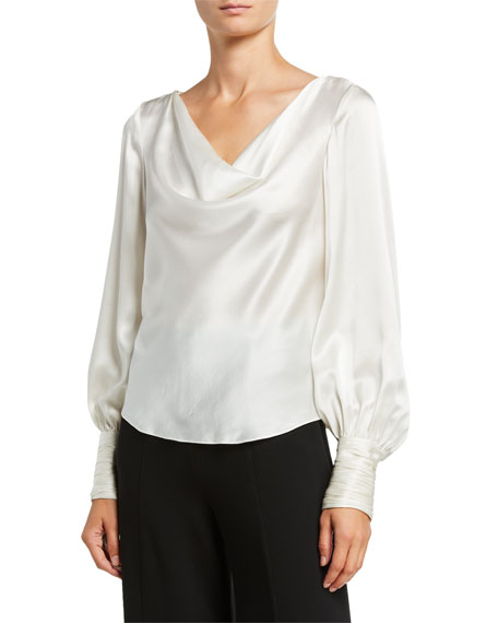 Taylee Cowl-Neck Silk Top