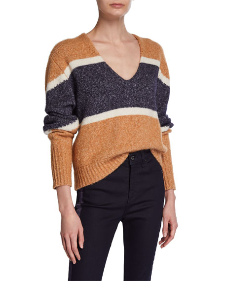 Emilia Striped V Neck Pullover by Veronica Beard