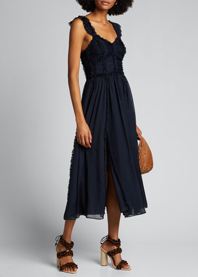 Florence Shirred Silk Ruffle Midi Dress