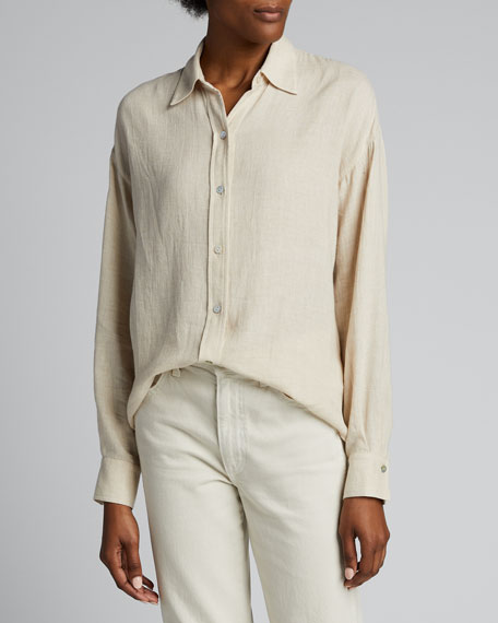 Boxy Long-Sleeve Button-Down Top