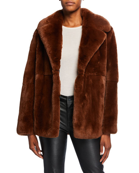 Notch-Collar Rabbit Fur Coat