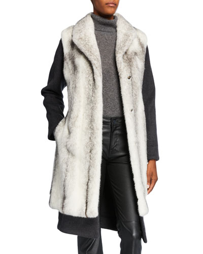 2-in-1 Cashmere-Blend Coat w/ Mink Fur Vest