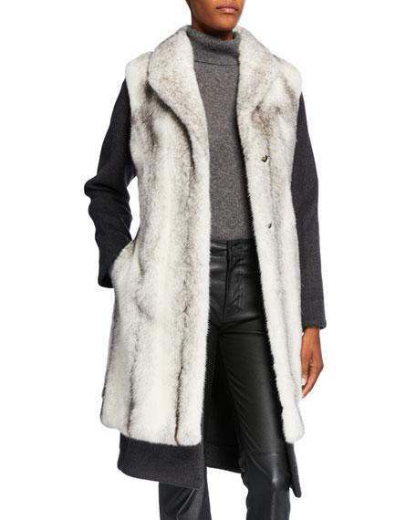 2 In 1 Cashmere Blend Coat W/ Mink Fur Vest by Yves Salomon