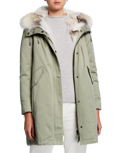 Detachable Fur-Trim Hooded Cotton Parka