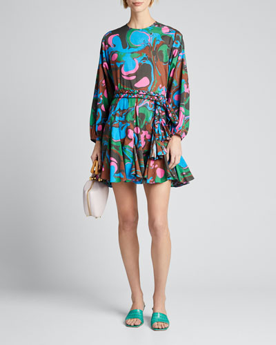 Ella Printed Poplin Belted Dress
