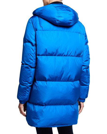 Fox Fur-Trim Hooded Puffer Coat
