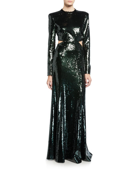 Gabriela Sequined Cutout Long-Sleeve Gown
