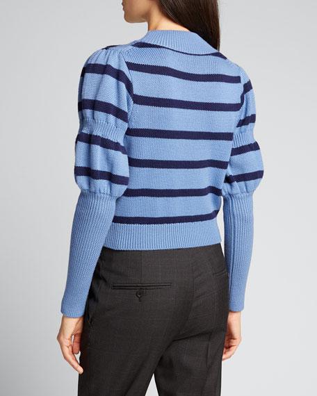 Elanie Striped Puff-Sleeve Sweater
