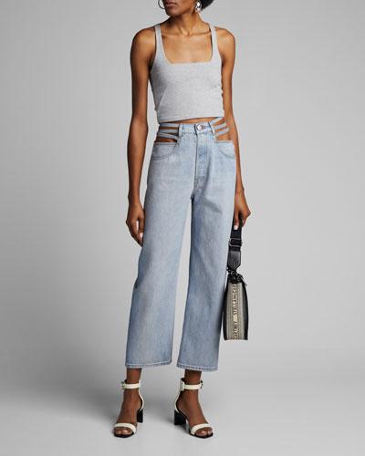 3x1 X Mimi Cuttrell Willow Waist-Cutout Wide-Leg Jeans