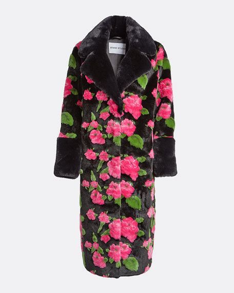 Liliana Long Floral Faux Fur Coat