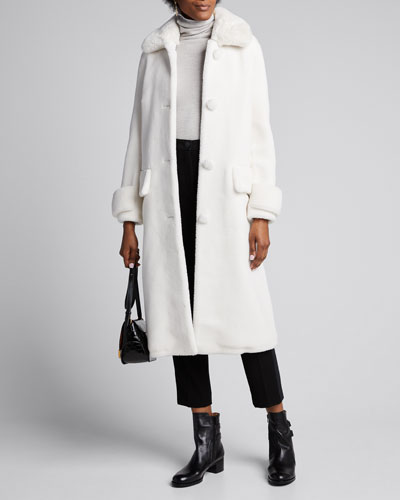 Karissa Long Faux Fur Pompom Coat