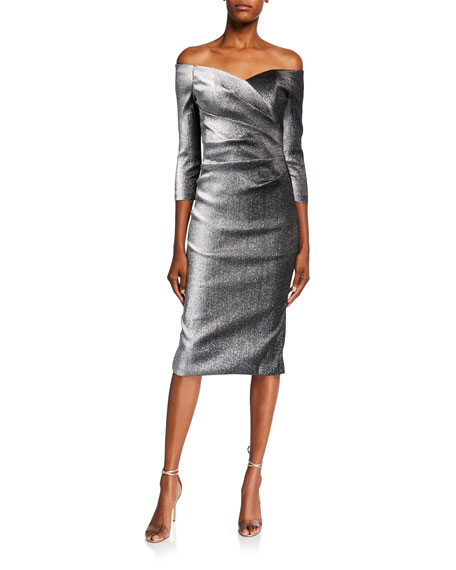 Metallic Off-the-Shoulder 3/4-Sleeve Ruched Dress