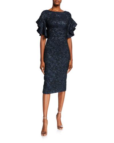 Ruffled Elbow-Sleeve Jacquard Sheath Dress