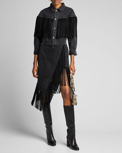 Fringe-Hem Asymmetric Wrap Denim Skirt