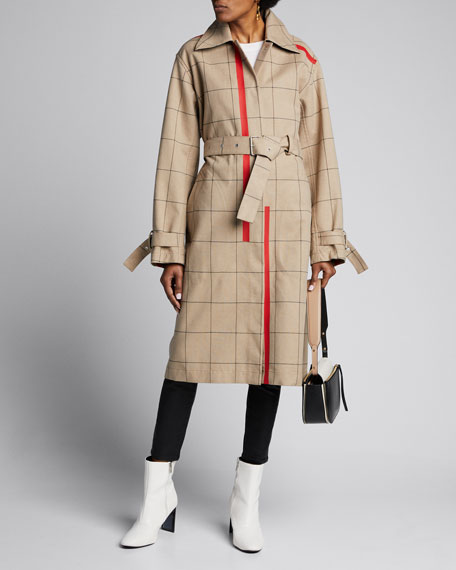 Image 1 of 1: Windowpane Trench Coat with Side Slits