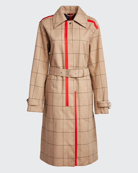 Windowpane Trench Coat with Side Slits
