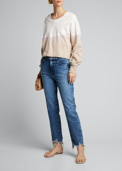 Jules High-Rise Straight Jeans w/ Shredded Hem