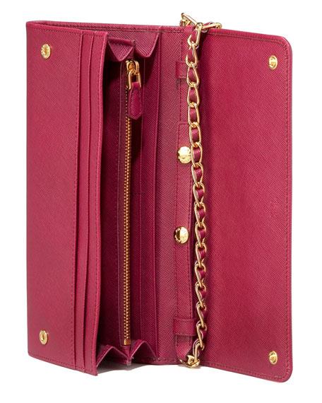 b6076069ec67 Prada Saffiano Chain Crossbody Wallet