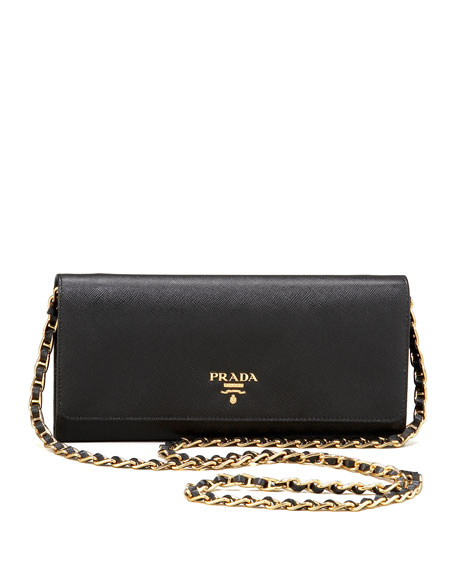 1e6d9d994cb5 Prada Saffiano Chain Crossbody Wallet