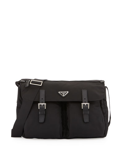 PRADA Vela Buckle-Pocket Messenger Bag, Black (Nero)