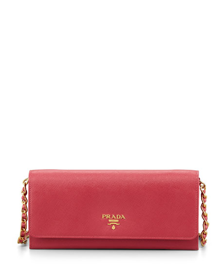 Saffiano Wallet on Chain, Pink