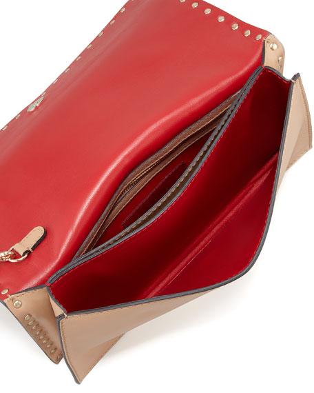 Rockstud Flap Wristlet Clutch Bag, Tan