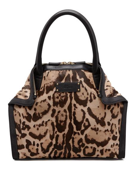 De-Manta Mini Leopard-Print Calf Hair Tote Bag
