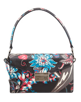 Prada Saffiano Floral-Print Sound Shoulder Bag, Black Mult