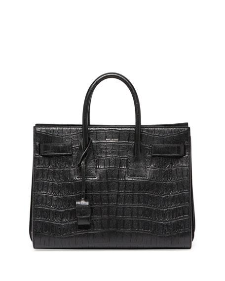 Sac de Jour Croc-Print Small Satchel Bag, Black