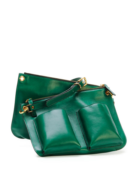 Bandoleer Soft Leather Shoulder Bag, Green