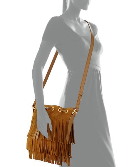 Small Suede Fringe Bucket Shoulder Bag, Tan