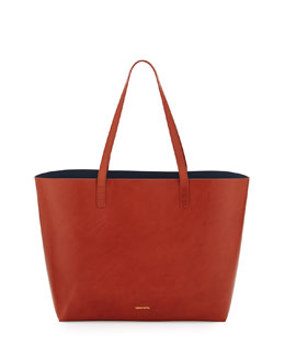 Mansur Gavriel Large Leather Tote Bag with Coated Interior, Brandy/Avion