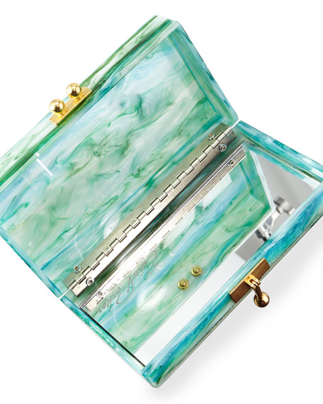 Jean Embroidery-Inlay Acrylic Clutch Bag