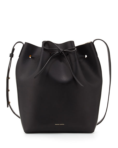 Structured Leather Bucket Bag, Black/Gold
