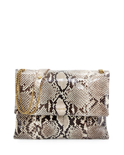 Sugar Medium Python Shoulder Bag, Natural