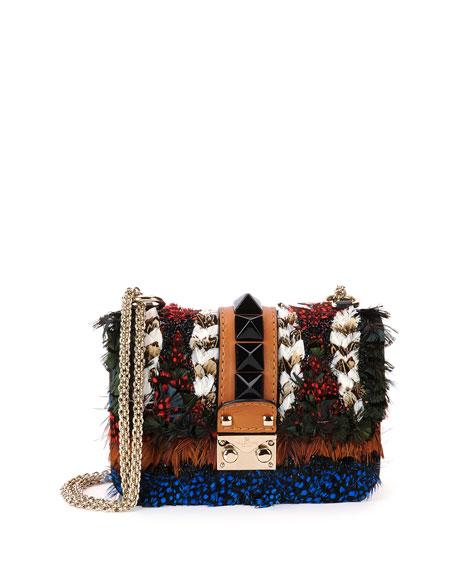 Feather Mini-Lock Shoulder Bag, Multicolor