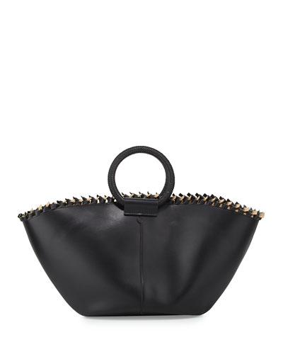 Leather Market Bag, Black