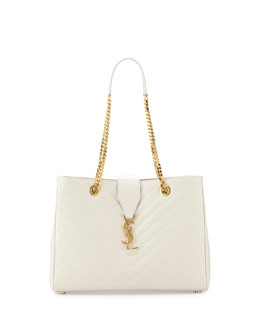 Monogram Matelasse Shopper Bag, White