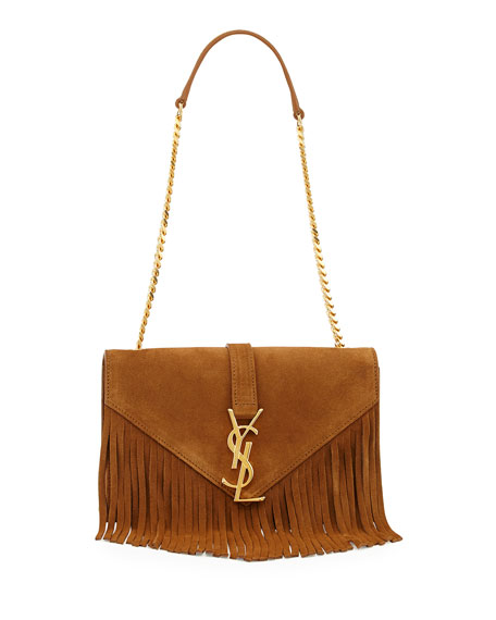 Saint Laurent Monogram Suede Fringe Shoulder Bag c5c4e010429a6