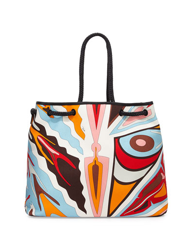 Celeste Printed Linen Beach Bag