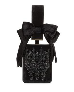 Show Line Embroidered Clutch Bag, Black