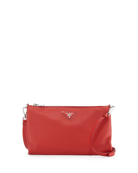 6ef4377af2df Prada Vitello Daino Zip-Top Crossbody Bag, Red (Rosso)