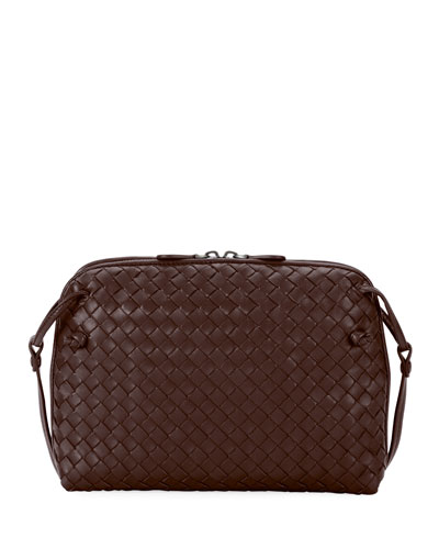 Intrecciato Messenger Bag, Dark Brown