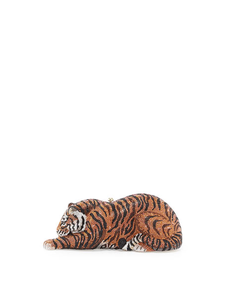 Tiger Crystal Minaudiere, Copper by Judith Leiber Couture