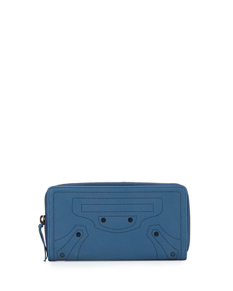 Perforated Calf Leather Wallet, Blue
